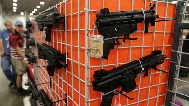 PHOTO: Guns are on display during the Nation's Gun Show, on Nov. 18, 2016, at Dulles Expo Center in Chantilly, Virginia.