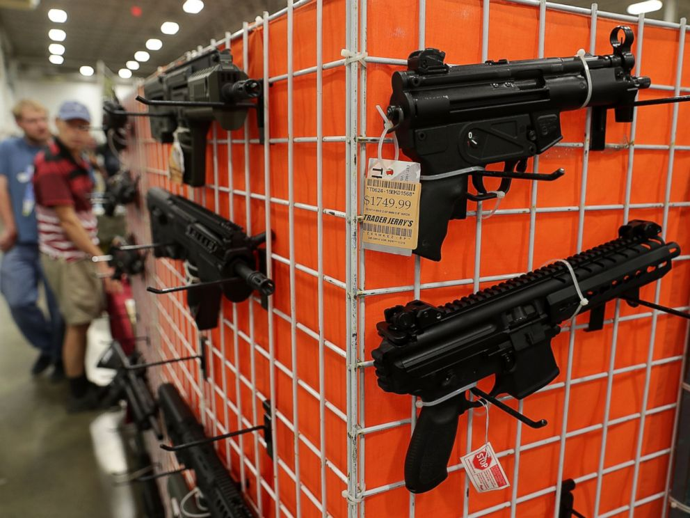 PHOTO: Guns are on display during the Nations Gun Show, on Nov. 18, 2016, at Dulles Expo Center in Chantilly, Virginia.