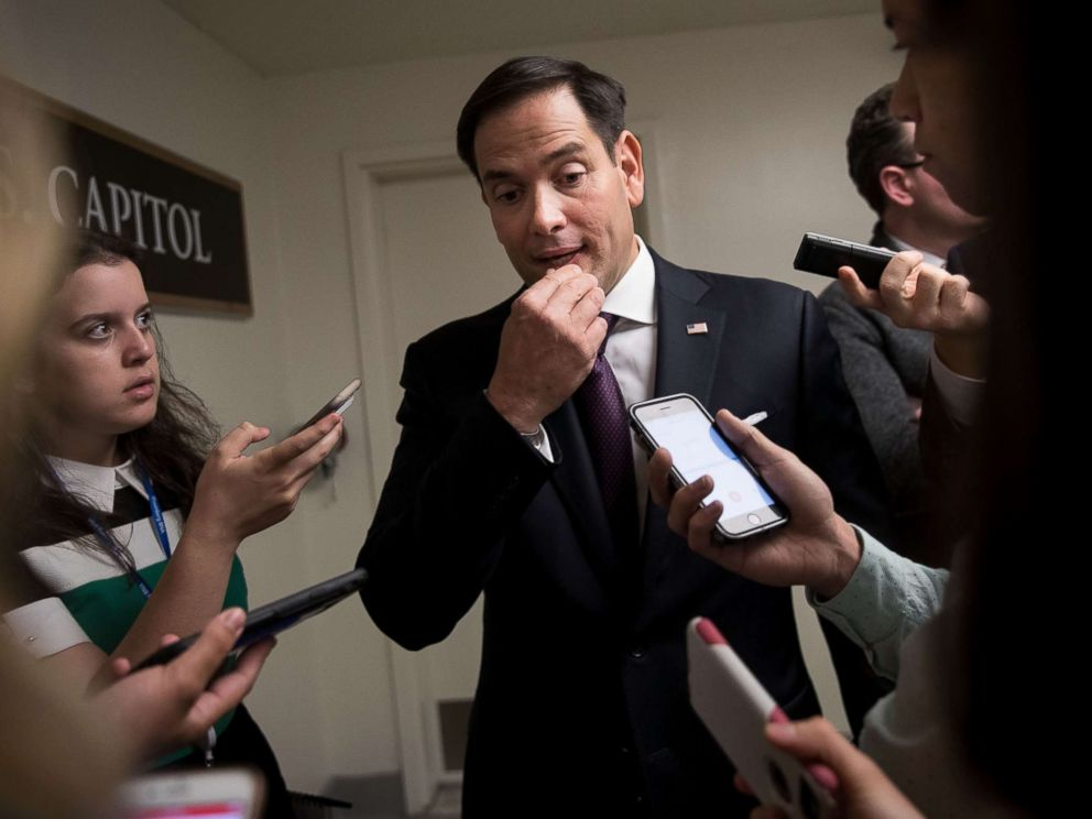 PHOTO: Sen. Marco Rubio (R-FL) speaks to reporters on his way to a closed-door Senate GOP conference meeting on Capitol Hill, June 27, 2017 in Washington, DC.