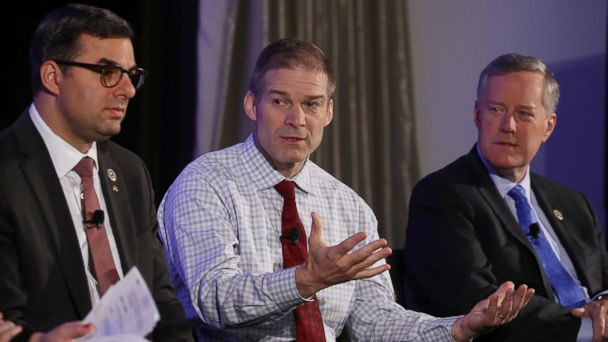 PHOTO: Members of the House Freedom Caucus, (L-R) Rep. Justin Amash (R-MI), Rep. Jim Jordan (R-OH) and Chairman Mark Meadows (R-NC) participate in a Politico Playbook Breakfast interview at the W Hotel, on April 6, 2017, in Washington.