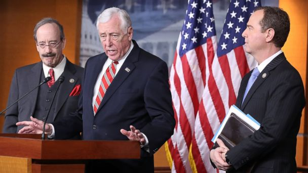 PHOTO: House Minority Whip Steny Hoyer (D-MD), center, House Intelligence ranking member Adam Schiff (D-CA), right, and House Foreign Affairs ranking member Eliot Engel (D-NY) speak at a news conference, Feb. 15, 2017, in Washington, DC.