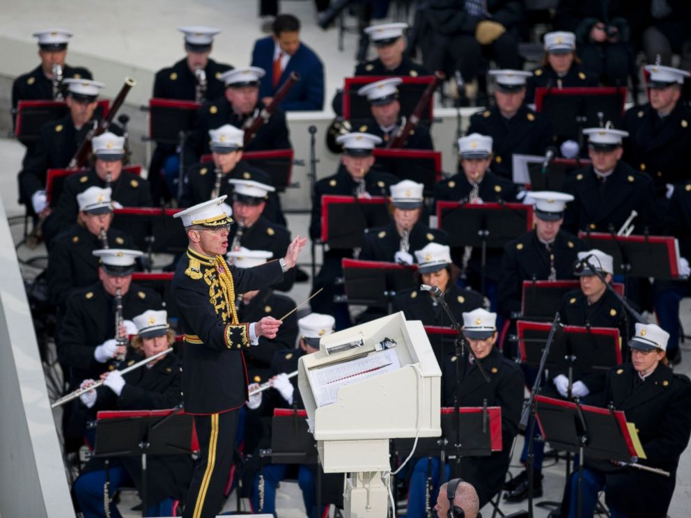 PHOTO: United States Marine Band Director, Col. Michael Colburn, prepares for the 57th Presidential Inauguration at the U.S. Capitols West Front, on Jan. 21, 2013, in Washington.