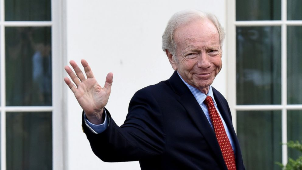 PHOTO: U.S. Senator from Connecticut, Joe Lieberman, leaving the West Wing of the White House after meeting with President Donald Trump, on May 17, 2017, in Washington.