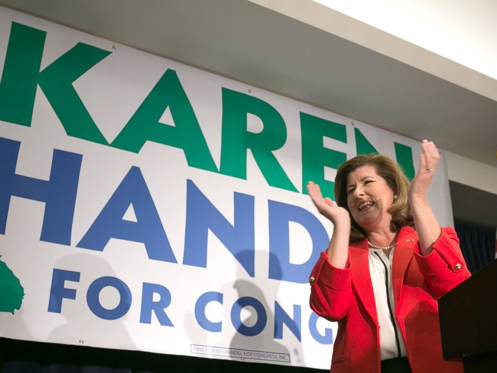 PHOTO: Georgias 6th Congressional district Republican candidate, Karen Handel, gives a victory speech to supporters gathered at the Hyatt Regency at Villa Christina, on June 20, 2017, in Atlanta.