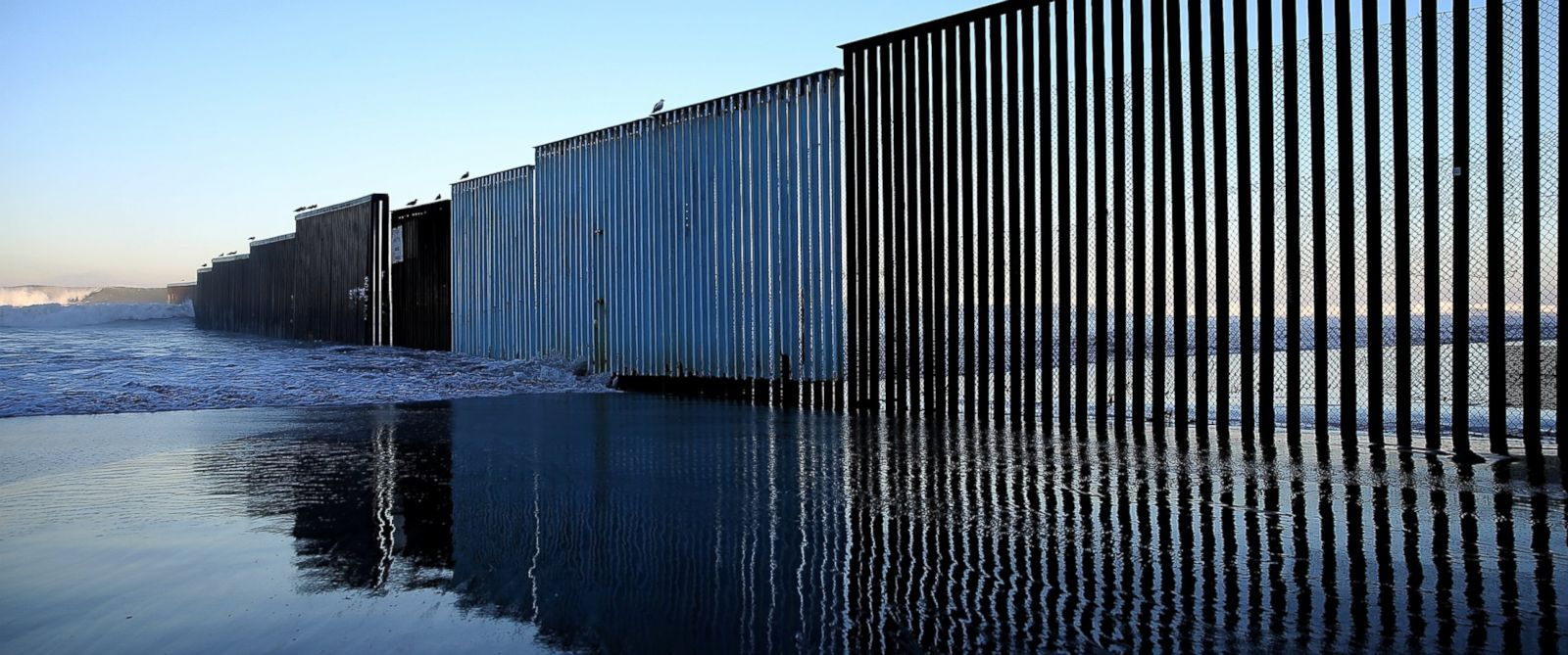 PHOTO: A view of the US-Mexican border fence at Playas de Tijuana, on Jan. 27, 2017, in Tijuana, Mexico.