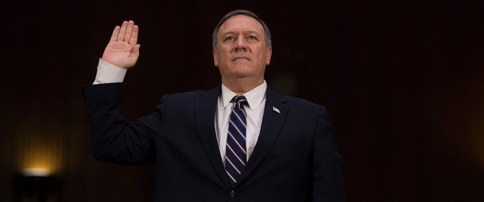 PHOTO: US Congressman Mike Pompeo, R-Kansas, is sworn in before testifying before the Senate (Select) Intelligence Committee on Capitol Hill in Washington, Jan. 12, 2017, on his nomination to be director of the Central Intelligence Agency (CIA).