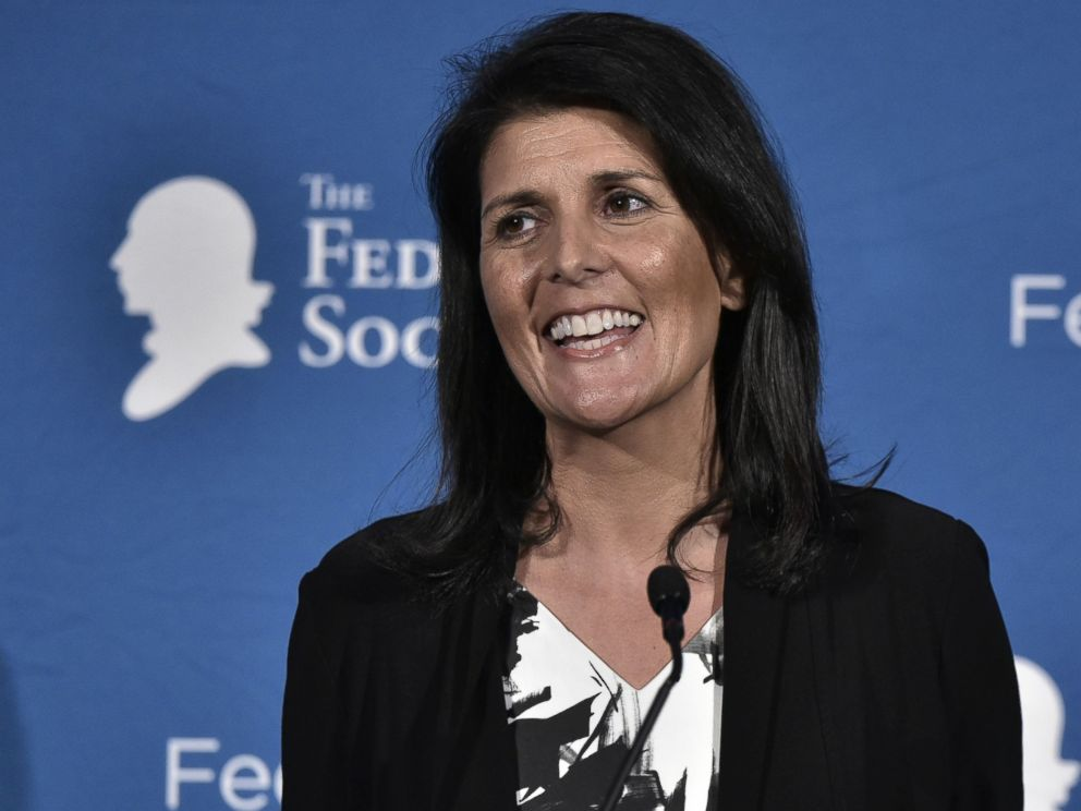 PHOTO: South Carolina Governor Nikki Haley speaks during the 2016 National Lawyers Convention sponsored by the Federalist Society in Washington, Nov. 18, 2016.