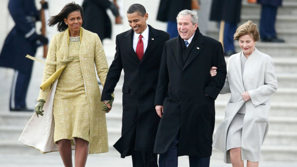PHOTO: President Barack Obama and his wife Michelle walk former president George W. Bush and his wife Laura to a waiting helicopter after the inauguration of Barack Obama as the 44th President of the United States, January 20, 2009 in Washington, DC.