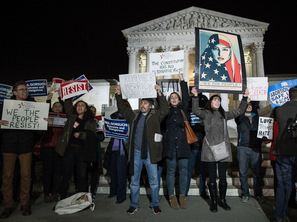 PHOTO: Protestors gather outside of the Supreme Court, Jan. 31, 2017, in Washington.