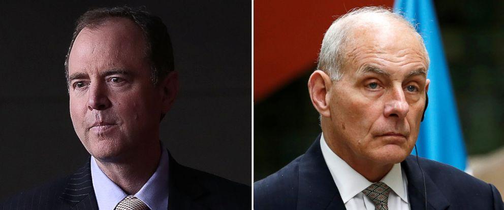 PHOTO: (L-R) Pictured are Rep. Adam Schiff in Washington D.C., March 22, 2017 and U.S. Homeland Security Secretary John Kelly in Guatemala City, Guatemala, Feb. 22, 2017.