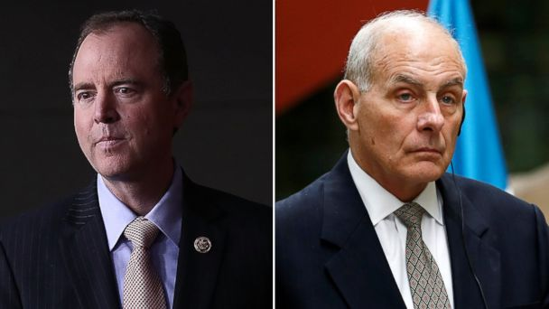 PHOTO: (L-R) Pictured are Rep. Adam Schiff in Washington D.C., March 22, 2017 and U.S. Homeland Security Secretary John Kelly in Guatemala City, Guatemala, Feb. 22, 2017.