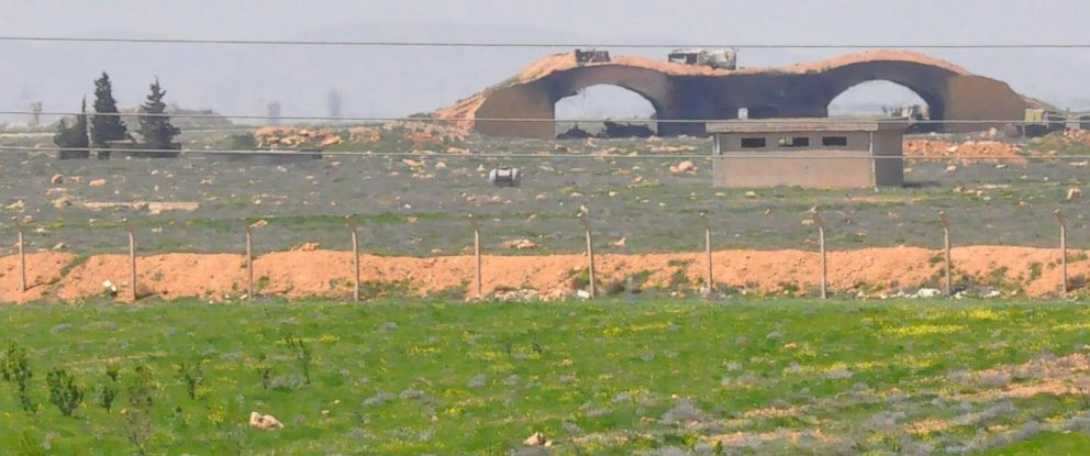 PHOTO: A picture taken on April 7, 2017 shows the damaged Shayrat airfield at the Syrian government forces military base targeted earlier overnight by US Tomahawk cruise missiles.