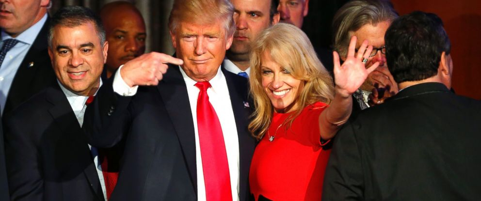 PHOTO: Donald Trump gestures to Kellyanne Conway after addressing his supporters and celebrating his Presidential win at his election night event at the New York Hilton Midtown in New York City, on Nov. 9, 2016.