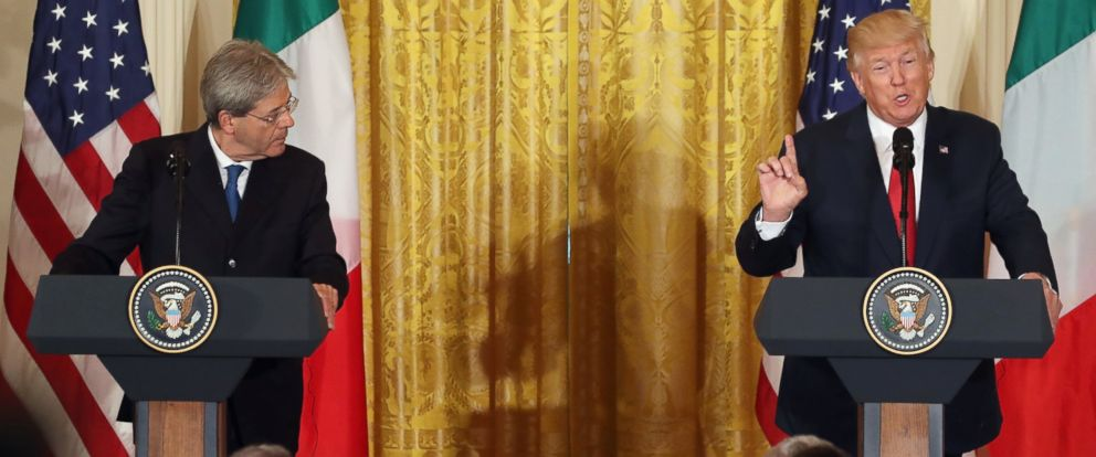 PHOTO: President Donald Trump and Prime Minister Paolo Gentiloni of Italy participate in a news conference in the East Room at the White House, April 20, 2017 in Washington, DC.