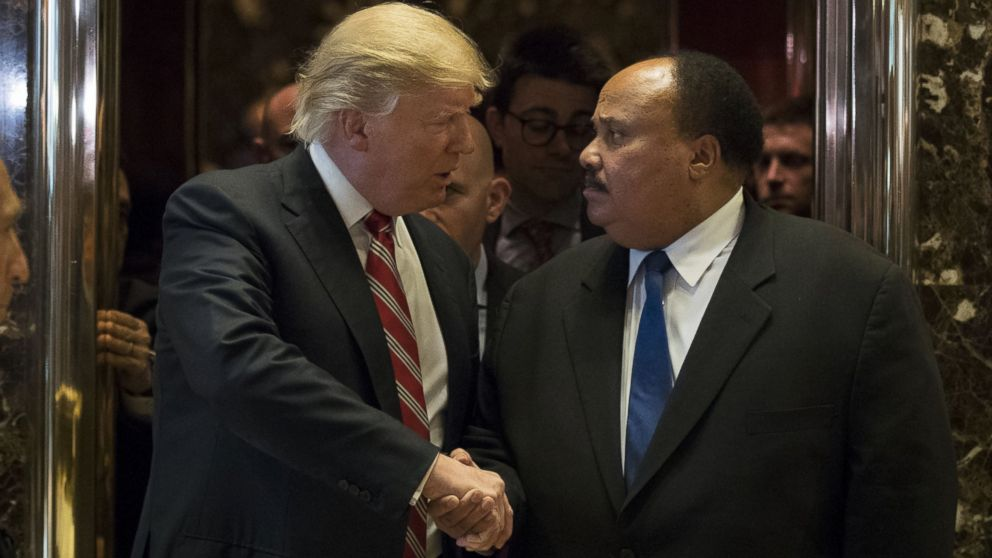 PHOTO: President-elect Donald Trump shakes hands with Martin Luther King III after their meeting at Trump Tower, Jan. 16, 2017, in New York City.