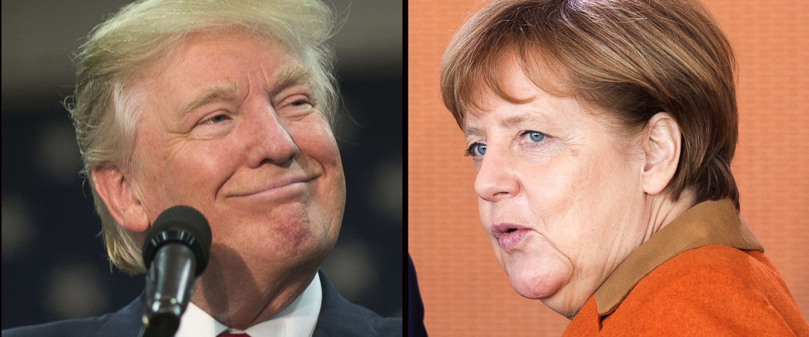 PHOTO: President Donald Trump, left, German Chancellor Angela Merkel.