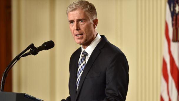PHOTO: Judge Neil Gorsuch speaks, after US President Donald Trump nominated him for the Supreme Court, at the White House in Washington, DC, on January 31, 2017.
