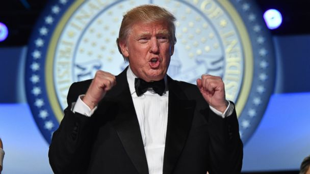 PHOTO: President Donald Trump at the Freedom Ball on January 20, 2017 in Washington, D.C. Trump will attend a series of balls to cap his Inauguration day.
