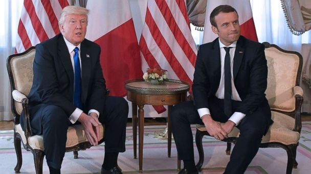 PHOTO: President Donald Trump and French President Emmanuel Macron meet ahead of a working lunch, at the US ambassador's residence, on the sidelines of the NATO summit, in Brussels, May 25, 2017.