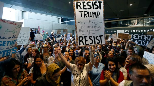 PHOTO: Hundreds of people protest President Donald Trump's travel ban at the Tom Bradley International Terminal at LAX, January 29, 201,7 in Los Angeles.