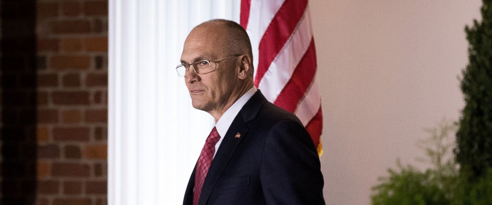 PHOTO: Andrew Puzder, chief executive of CKE Restaurants, exits after his meeting with president-elect Donald Trump at Trump International Golf Club, Nov. 19, 2016, in Bedminster Township, New Jersey.