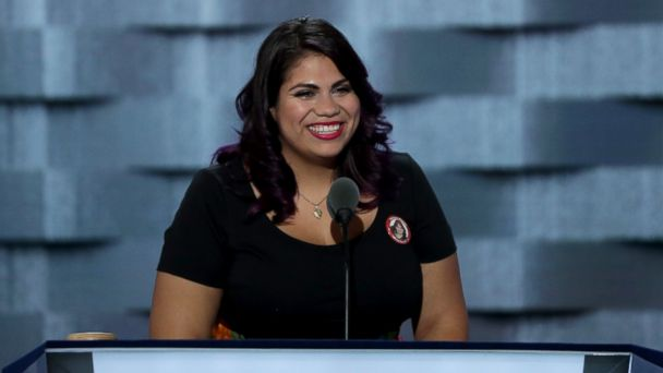 PHOTO: Astrid Silva delivers remarks on the first day of the Democratic National Convention at the Wells Fargo Center, July 25, 2016, in Philadelphia.
