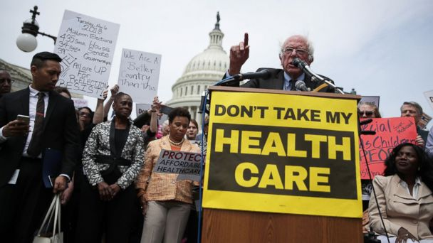 PHOTO: Sen. Bernie Sanders speaks during a Stop 'Trumpcare' rally, May 4, 2017 in front of the Capitol in Washington, D.C.