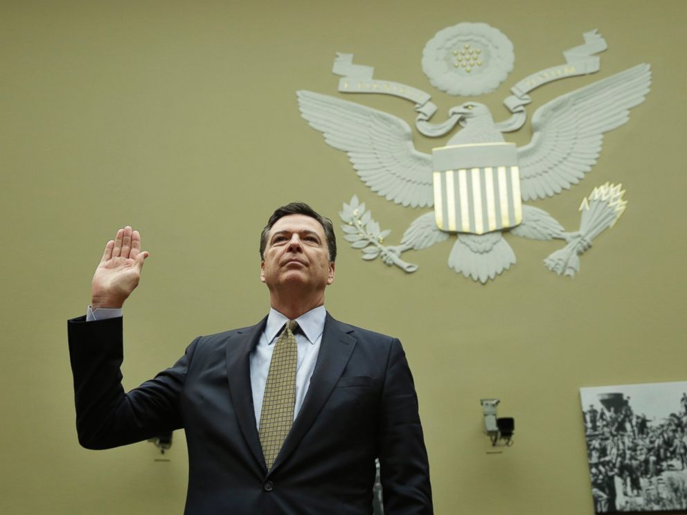 PHOTO: James Comey is sworn in before a hearing of the Government Reform and Oversight Committee at the Capitol in Washington on July 7, 2016.