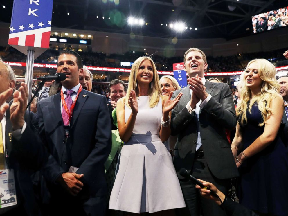 PHOTO: Donald Trump Jr., along with siblings Ivanka, Eric, and Tiffany, take part in the roll call in support of Republican presidential candidate Donald Trump on the second day of the Republican National Convention, July 19, 2016, in Cleveland.