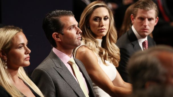 PHOTO: (L-R) Vanessa Trump, Donald Trump Jr., Lara Yunaska and Eric Trump wait for the start of the third U.S. presidential debate at the Thomas & Mack Center, Oct. 19, 2016 in Las Vegas.