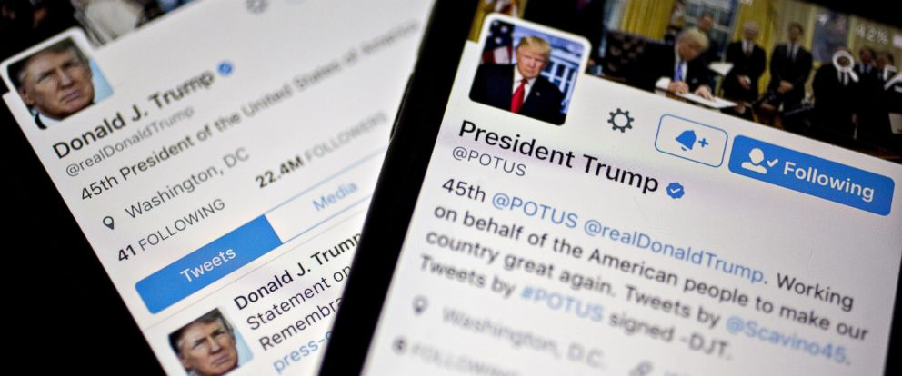 PHOTO: The Twitter accounts of President Donald Trump, @POTUS and @realDoanldTrump, are displayed in Washington, Jan. 27, 2017.