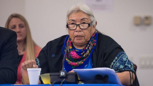 PHOTO: Faith Spotted Eagle of the Yankton Sioux Tribe addresses the Inter-American Commission on Human Rights (IACHR) of the Organization of American States (OAS) in Washington, Dec. 9, 2016.