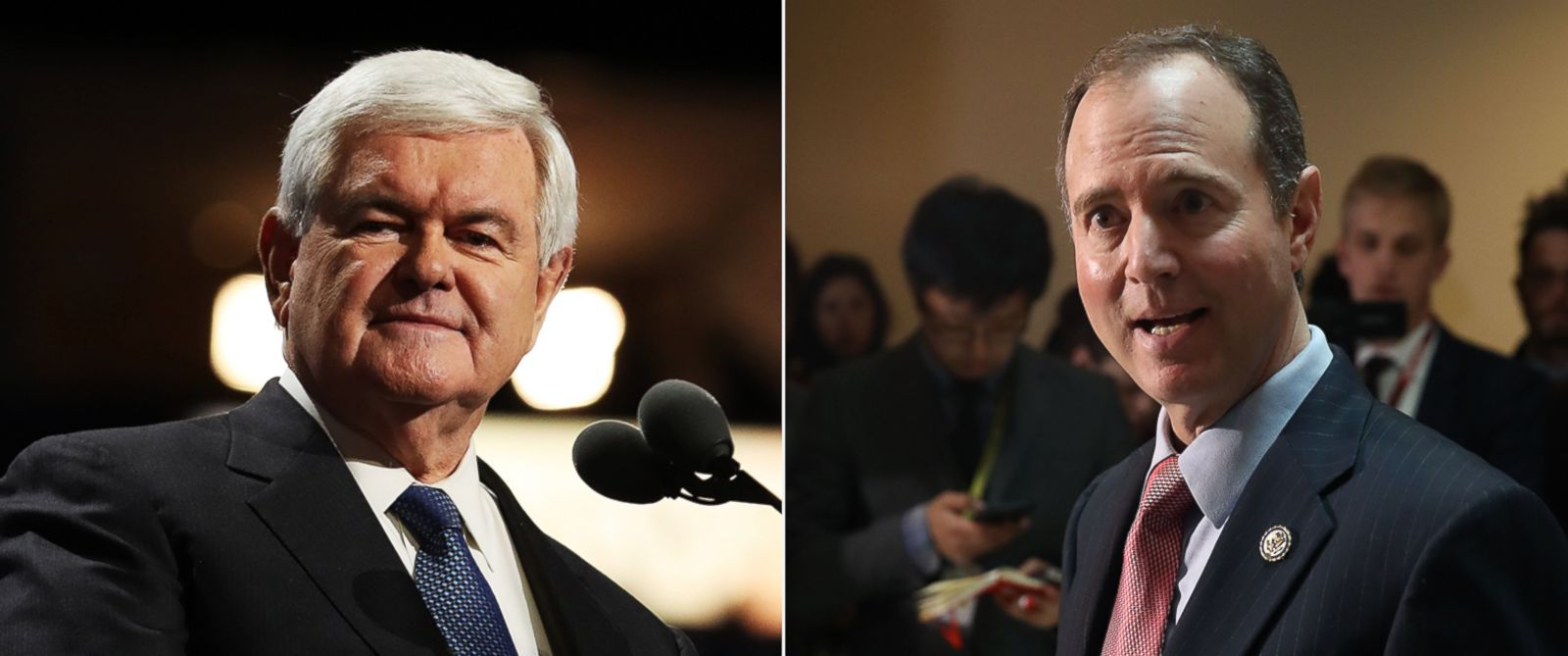 PHOTO: Newt Gingrich delivers a speech, July 20, 2016, in Cleveland, Ohio. | Adam Schiff speaks to the media about the committees investigation into alleged Russian interference in the U.S. presidential election, at the U.S. Capitol.