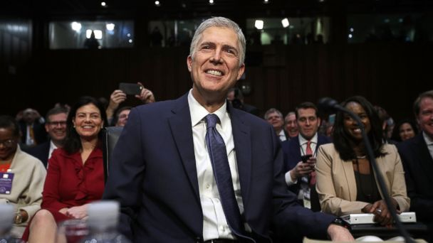 PHOTO: Neil Gorsuch arrives for the first day of his Supreme Court confirmation hearing before the Senate Judiciary Committee in the Hart Senate Office Building on Capitol Hill, March 20, 2017, in Washington.