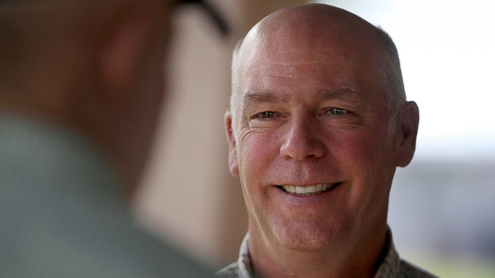 PHOTO: Republican congressional candidate Greg Gianforte greets supporters during a campaign meet and greet at Lions Park, May 23, 2017, in Great Falls, Montana.