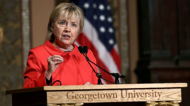 PHOTO: Hillary Clinton delivers remarks at Georgetown University, March 31, 2017, in Washington, DC.