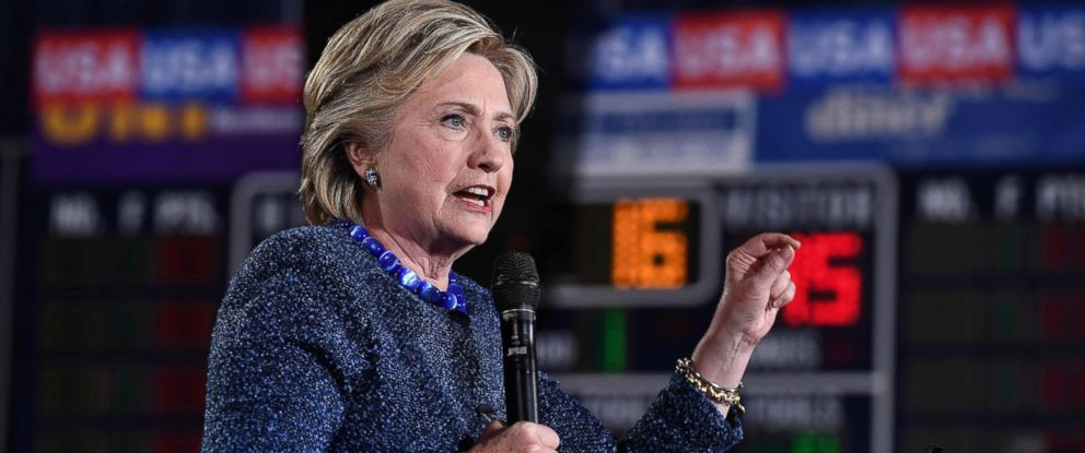 """PHOTO: Democratic presidential nominee Hillary Clinton speaks during a Democratic party """"Women Win"""" early vote rally in Des Moines, Iowa, Oct. 28, 2016."""