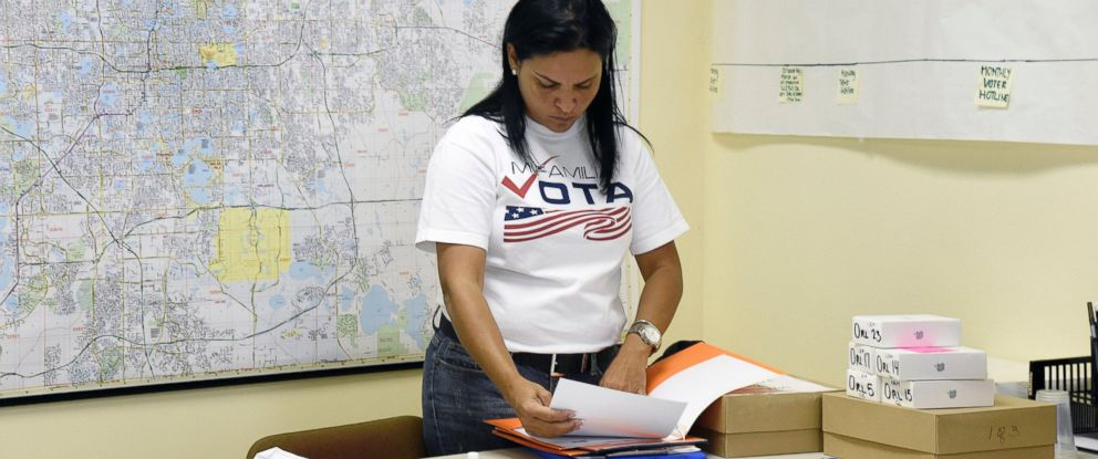 "PHOTO: Mairy Reyes organizes folders as she prepares to leave the ""Mi Famila Vota"" (My Family Votes) offices and register people to vote in Orlando, Florida on Oct. 3, 2016. A group"