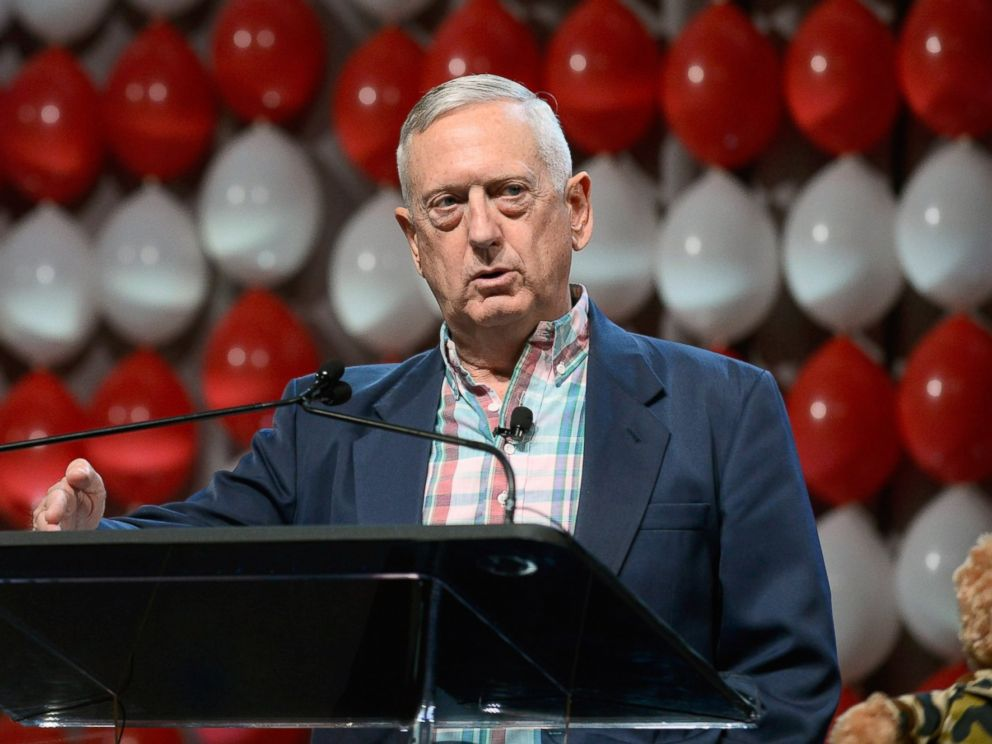 PHOTO: Retired Marine Corps Gen. James Mattis speaks during the DIRECTV and Operation Gratitude day of service at Caesars Palace, July 23, 2015 in Las Vegas.