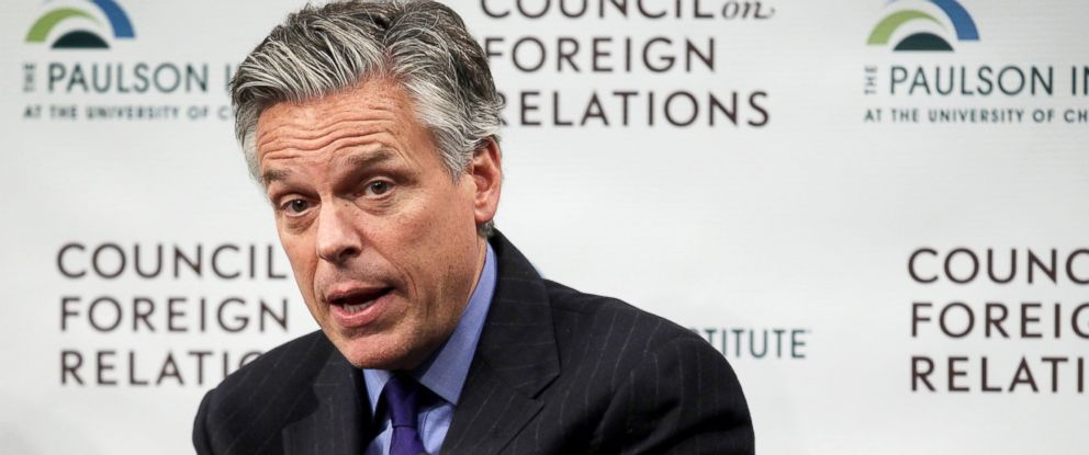 PHOTO: Former Utah Governor and former U.S. Ambassador to China Jon Huntsman participates in a discussion at the Council on Foreign Relations, Jan. 29, 2015, in Washington.