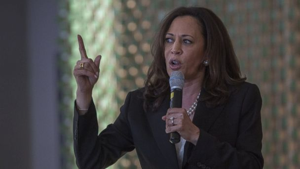 PHOTO: Senator Kamala D. Harris speaks before a town hall at Holman United Methodist Church, April 21, 2017, in Los Angeles. A diverse audience of community members responded in general agreement with statements and answers expressed by Harris.