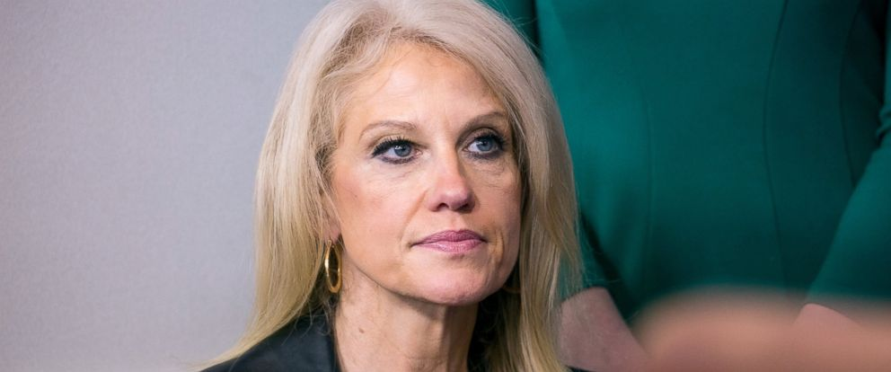 PHOTO: Kellyanne Conway listens during the daily press briefing in the James Brady Press Briefing Room at the White House, Jan. 24, 2017, in Washington.
