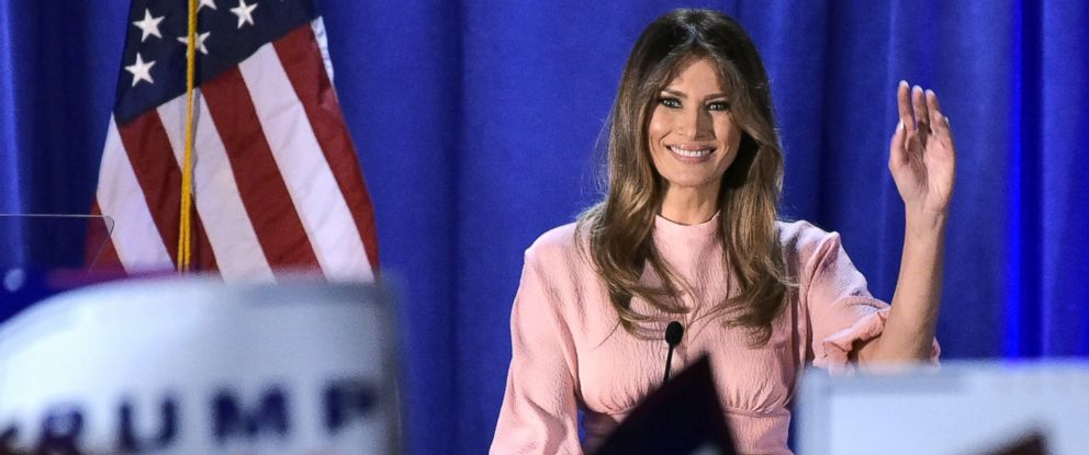 PHOTO: Melania Trump, the wife of Republican presidential nominee Donald Trump, waves as she makes her way off the stage after a rally, Nov. 3, 2016, in Berwyn, Pennsylvania.
