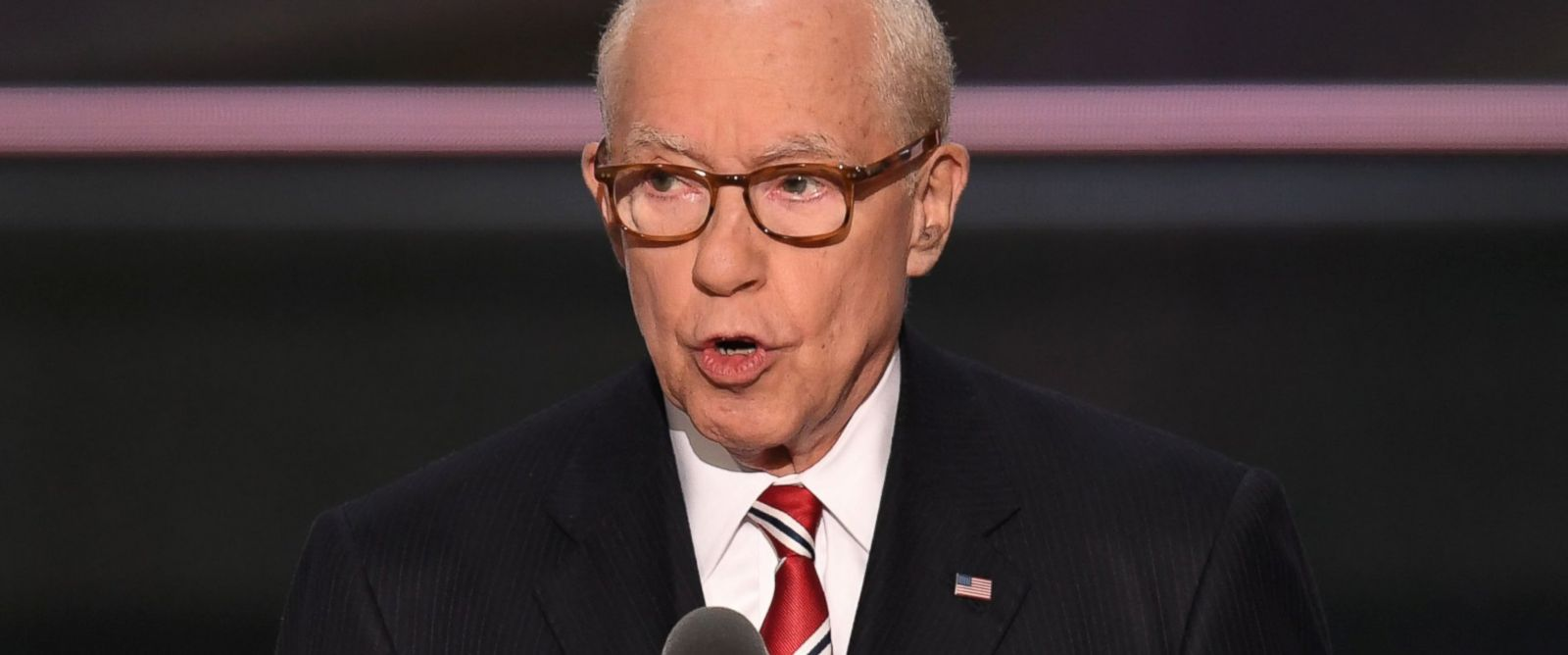 PHOTO: Former Attorney General Michael B. Mukasey speaks during the second day of the Republican National Convention at the Quicken Loans Arena in Cleveland, July 19, 2016.