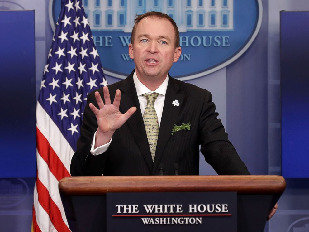 PHOTO: Office of Management and Budget Director Mick Mulvaney takes questions from reporters during a briefing at the White House, March 16, 2017, in Washington.
