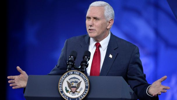 PHOTO: Vice President Mike Pence makes remarks to the Conservative Political Action Conference (CPAC) at National Harbor, Maryland, Feb. 23, 2017.
