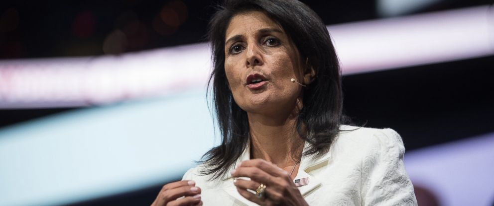PHOTO: Ambassador to the United Nations Nikki Haley arrives to address the American Israel Public Affairs Committee (AIPAC) policy conference in Washington, D.C., March 27, 2017.