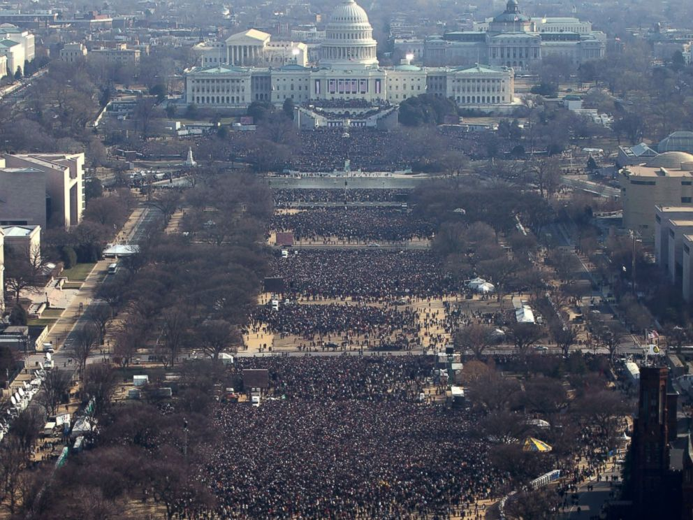 PHOTO: Thousands gather at the Washington Monument for the inauguration of President Barack Obama as 44th U.S. President in Washington D.C. Jan. 20, 2009. Picture taken at approximately 11AM.