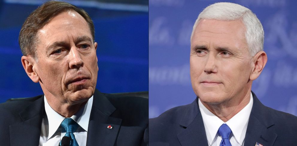 PHOTO: Mike Pence listens during the Vice Presidential Debate, Oct. 4, 2016 in Farmville, Virginia | David Petraeus speaks at the 2016 Concordia Summit, Sept. 19, 2016.