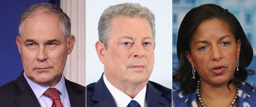 PHOTO: (L-R) Pictured are Scott Pruitt in Washington, D.C., June 2, 2017, Al Gore in Cannes, France, May 22, 2017 and Susan Rice in Washington, D.C., July 22, 2015.